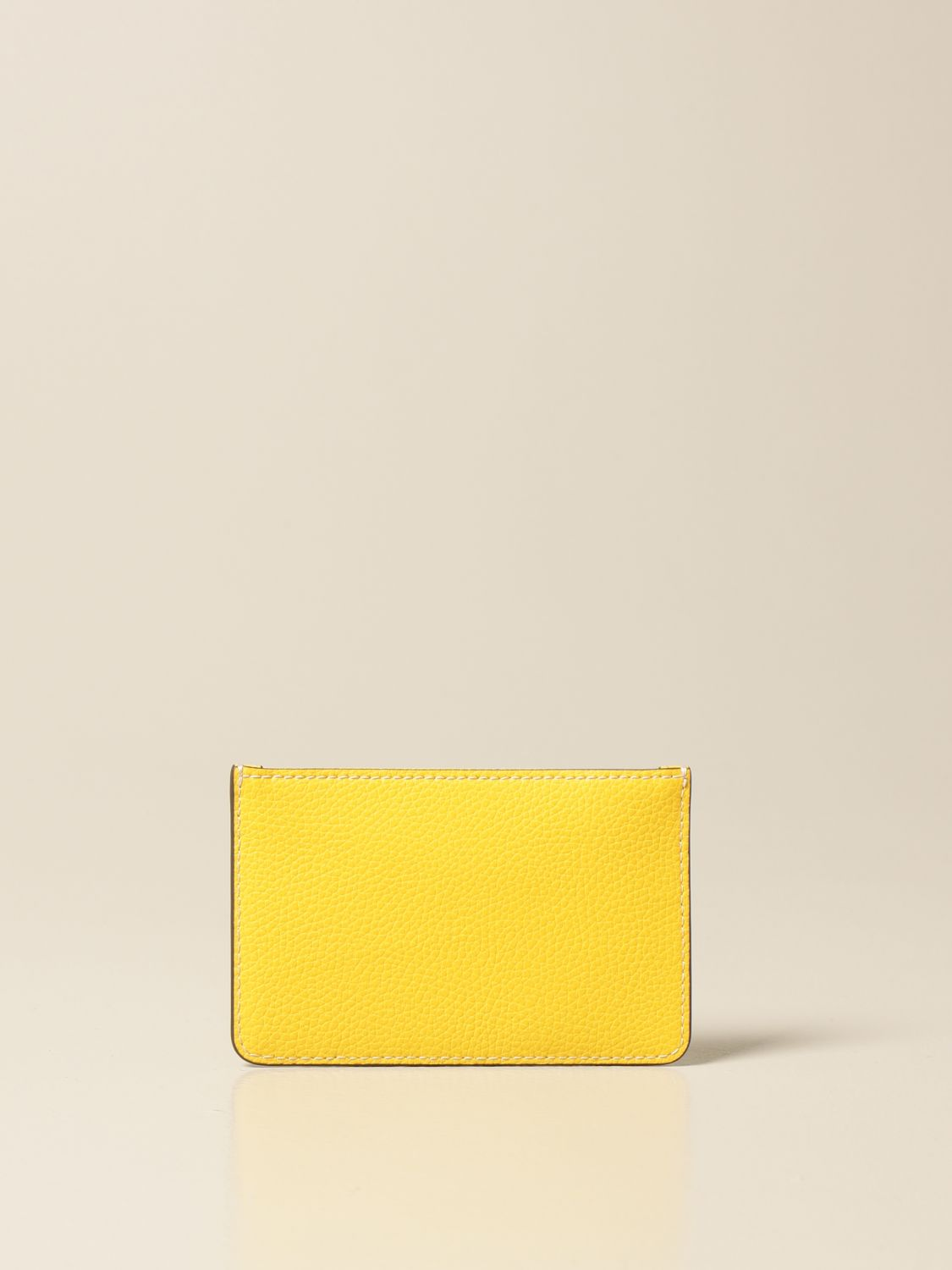 Wallet Tory Burch: Tory Burch credit card holder in hammered leather with logo and zip yellow 2