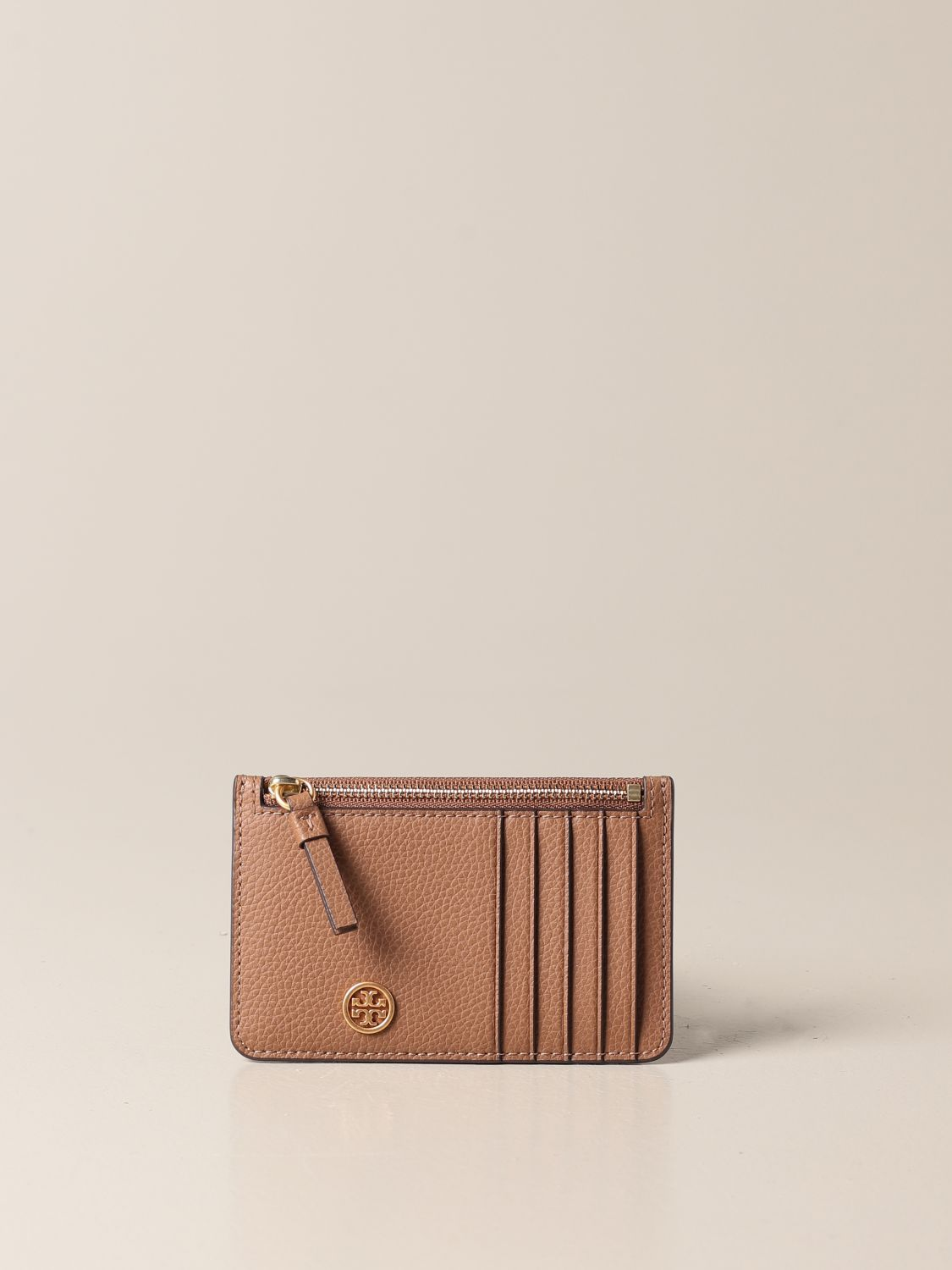 Wallet Tory Burch: Tory Burch credit card holder in hammered leather with logo and zip brown 1