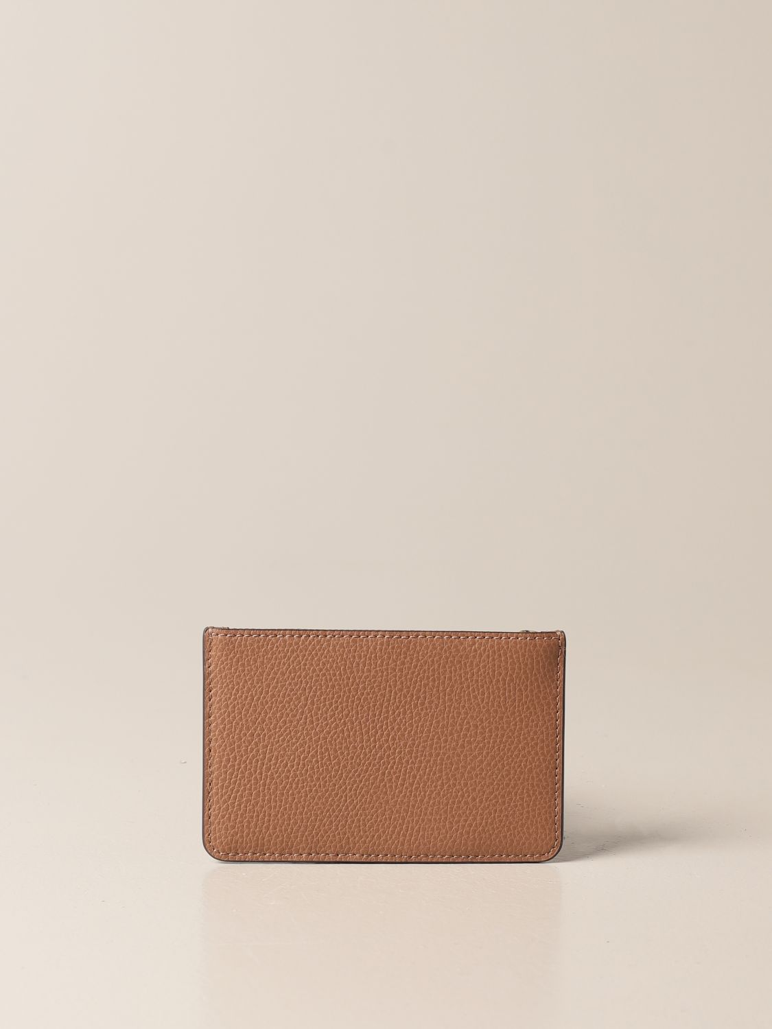 Wallet Tory Burch: Tory Burch credit card holder in hammered leather with logo and zip brown 2