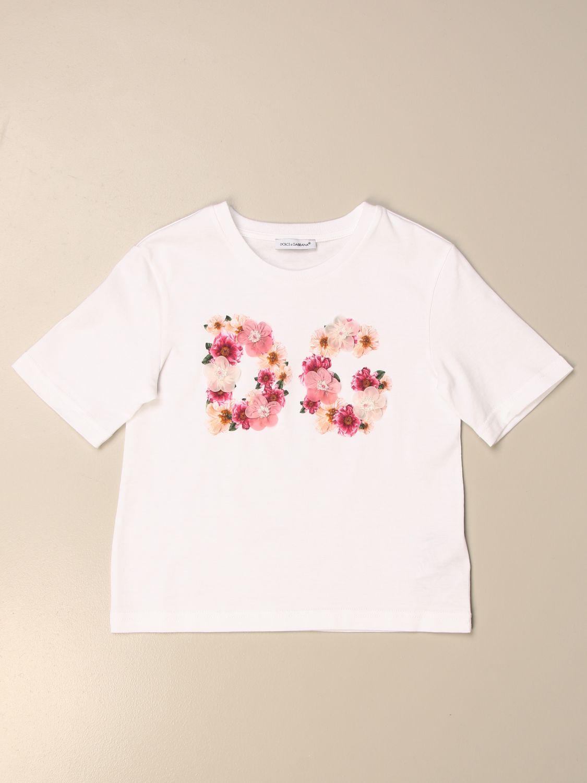 T-shirt Dolce & Gabbana: T-shirt Dolce & Gabbana in cotone con logo DG floreale rosa 1