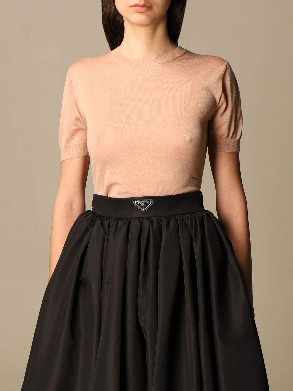 Maglia Prada: Maglia basic Prada di lana rosa 1