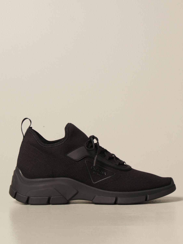 Sneakers Prada: Sneakers running Prada in tessuto elasticizzato nero 1