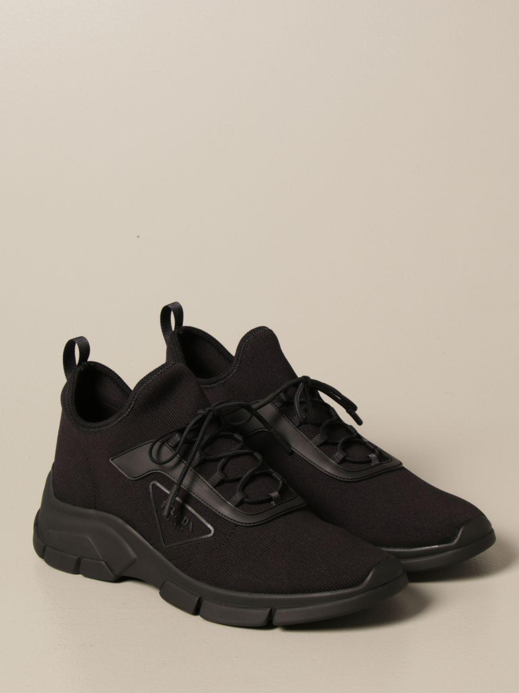 Sneakers Prada: Sneakers running Prada in tessuto elasticizzato nero 2