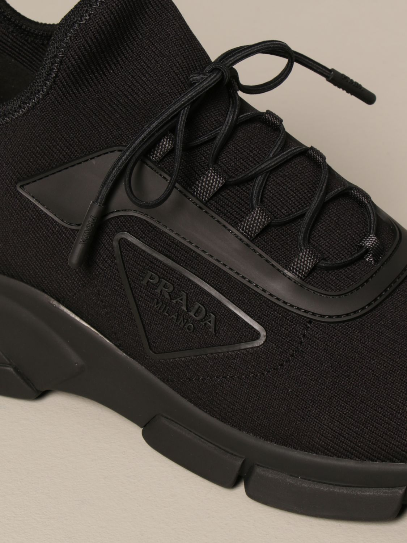 Sneakers Prada: Sneakers running Prada in tessuto elasticizzato nero 4