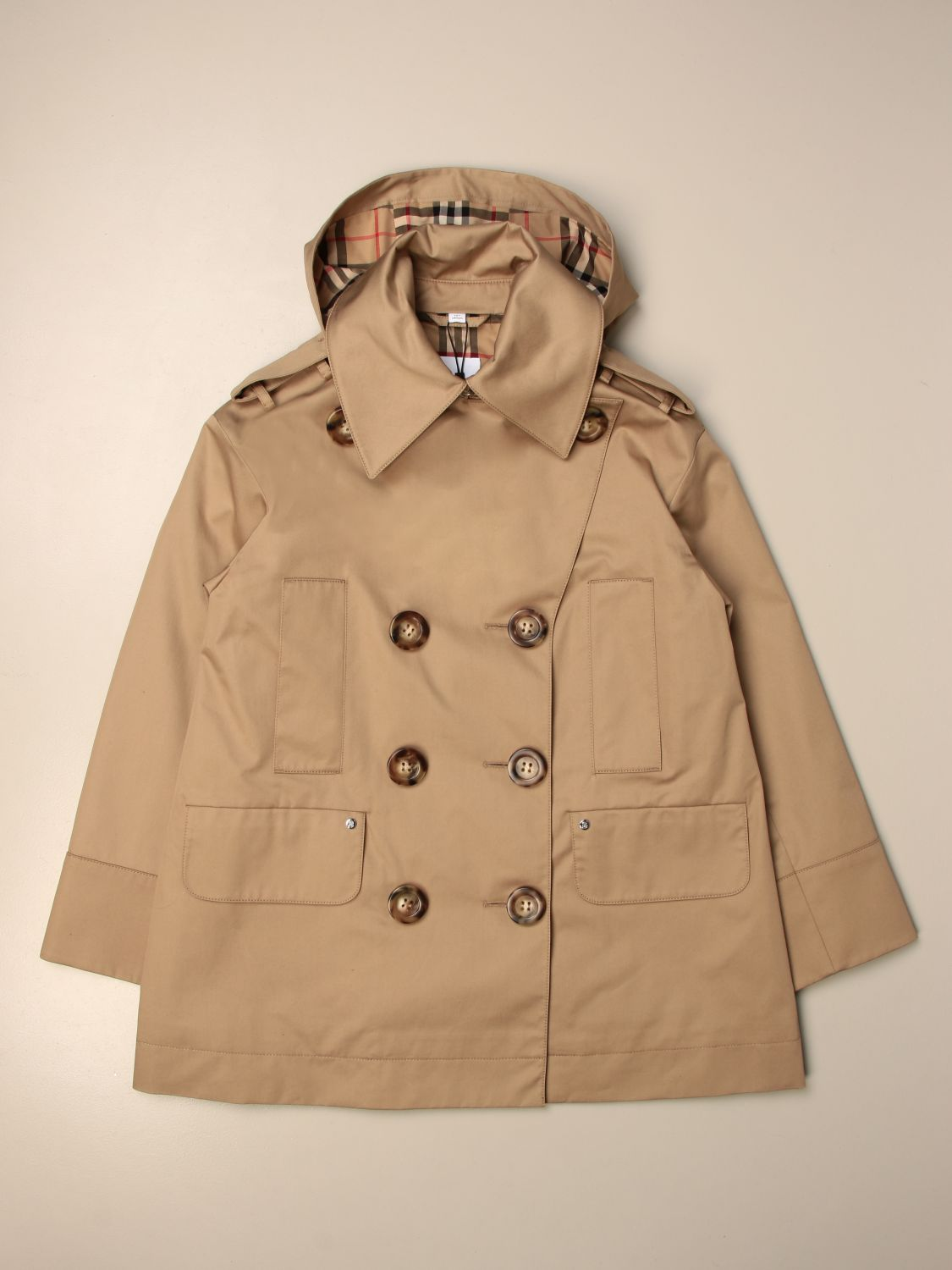 Coat Burberry: Burberry double-breasted trench coat with hood beige 1
