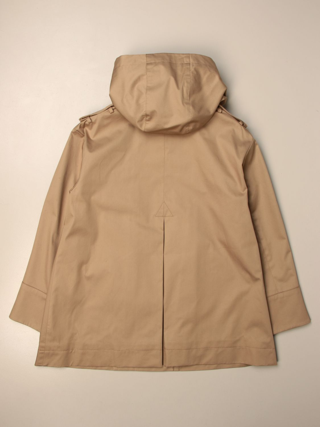 Coat Burberry: Burberry double-breasted trench coat with hood beige 2