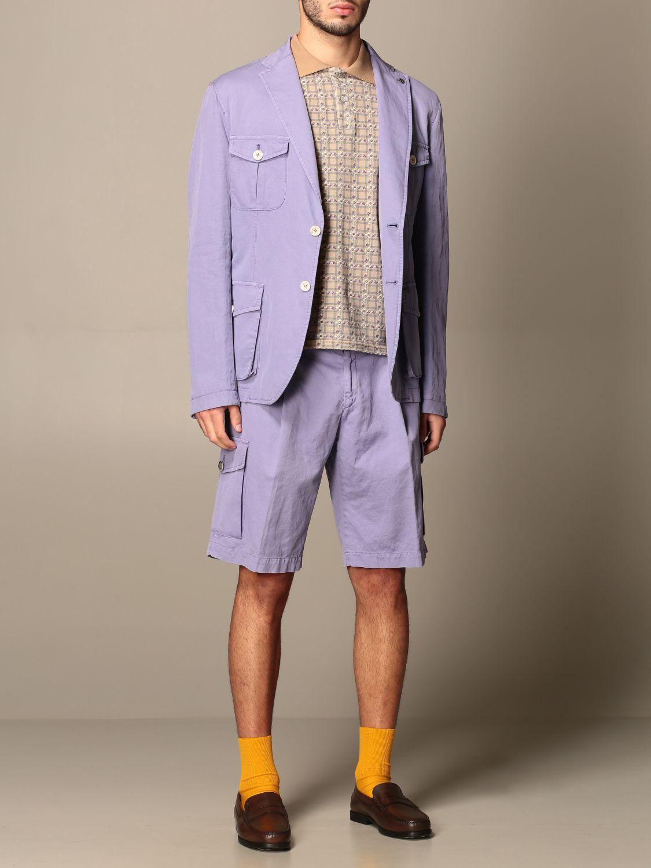 Pantaloncino Havana & Co.: Bermuda Havana & Co. in cotone e lino viola 2