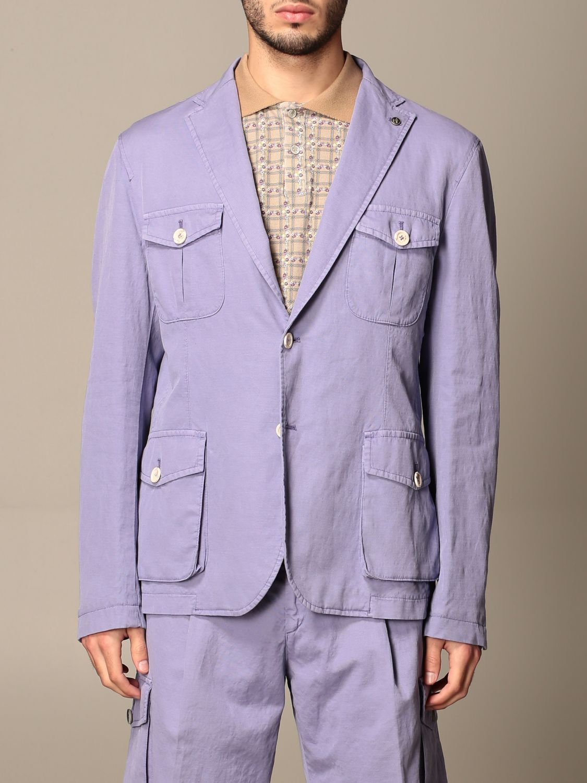 Blazer Havana & Co.: Giacca sahariana Havana & Co. in cotone e lino viola 1