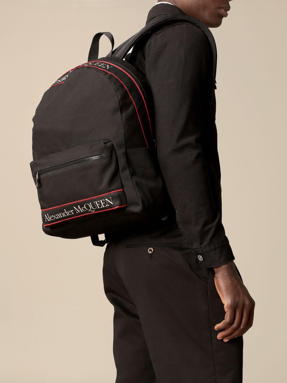 Backpack Alexander Mcqueen: Alexander McQueen backpack in canvas with logo black 2