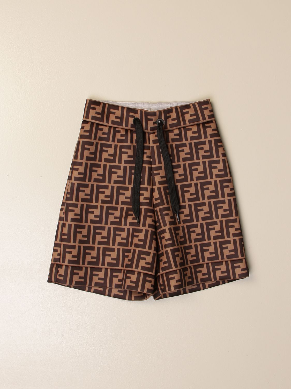 Pants Fendi: Fendi jogging Bermuda shorts with all-over FF logo brown 1