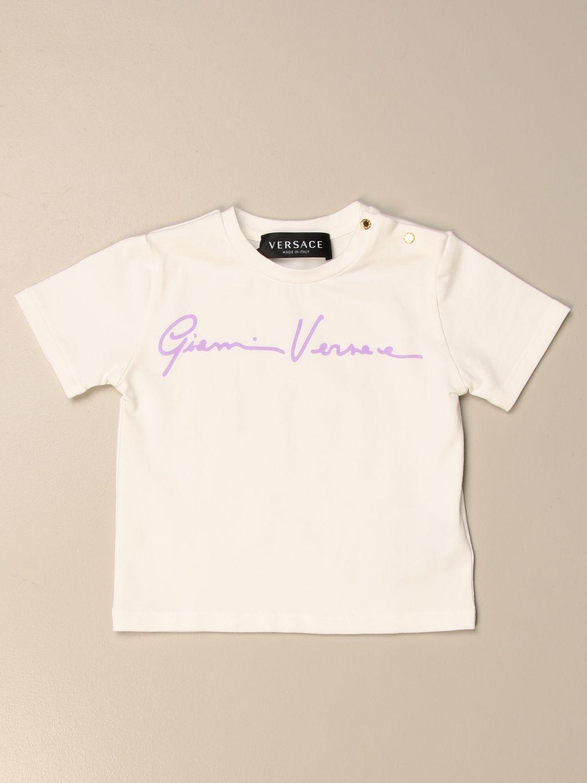 T-shirt Young Versace: T-shirt Versace Young con firma bianco 1