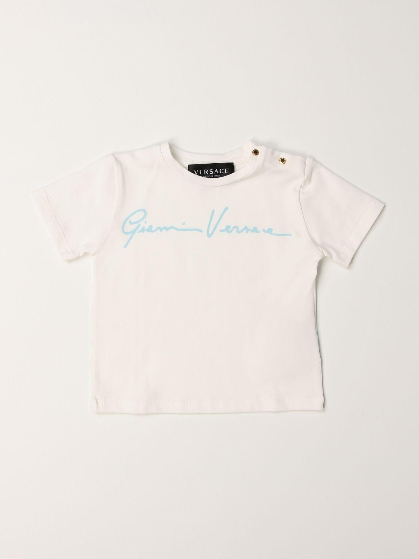 T-shirt Young Versace: T-shirt Versace Young con firma celeste 1