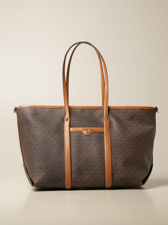 Tote bags Michael Michael Kors: Michael Michael Kors shopping bag in monogram canvas brown 1