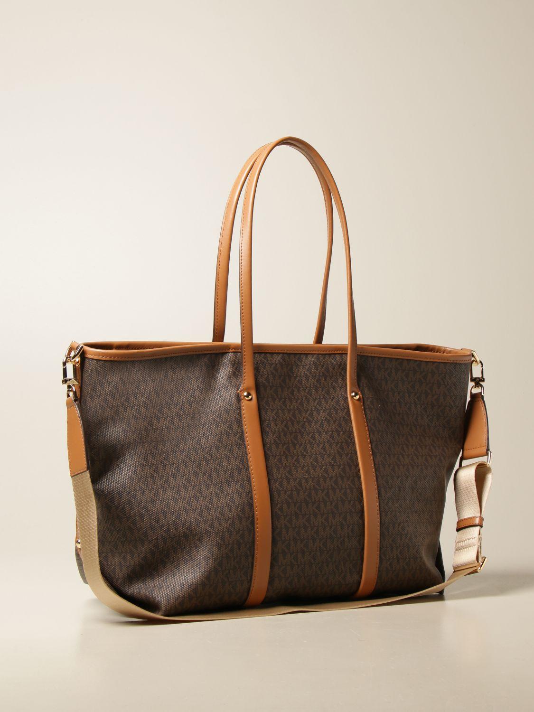 Tote bags Michael Michael Kors: Michael Michael Kors shopping bag in monogram canvas brown 2