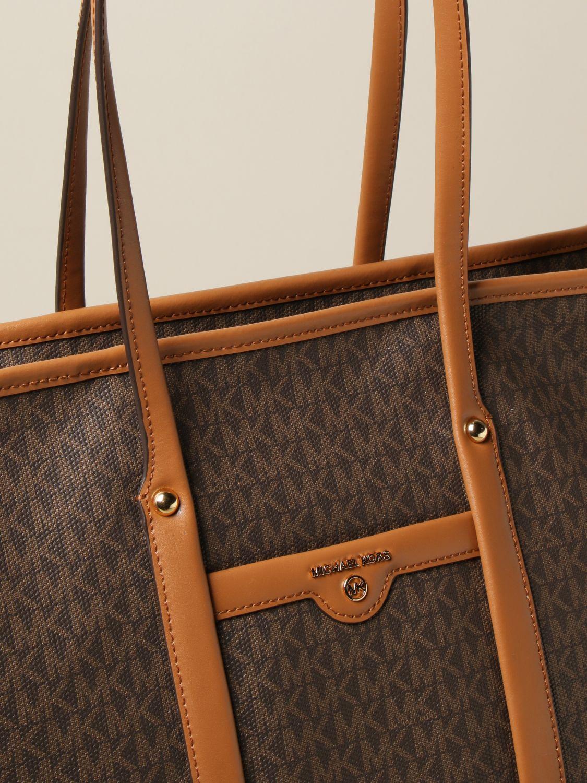 Tote bags Michael Michael Kors: Michael Michael Kors shopping bag in monogram canvas brown 3
