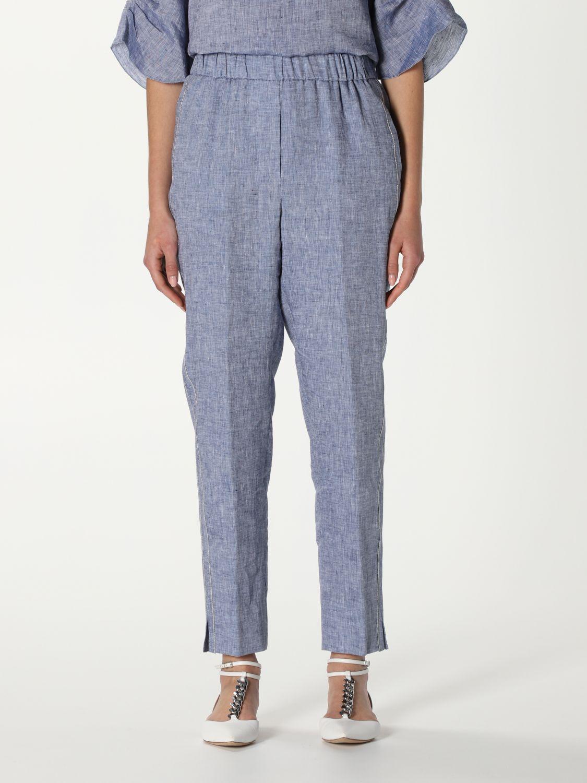 Pantalone Peserico: Pantalone Peserico in lino blue 1