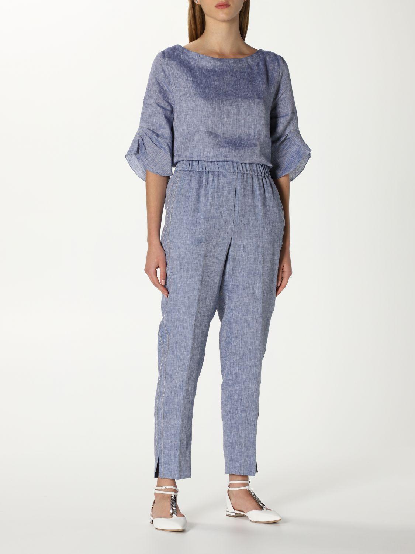 Pantalone Peserico: Pantalone Peserico in lino blue 2