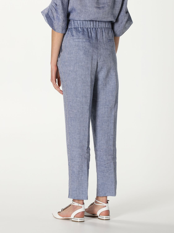 Pantalone Peserico: Pantalone Peserico in lino blue 3