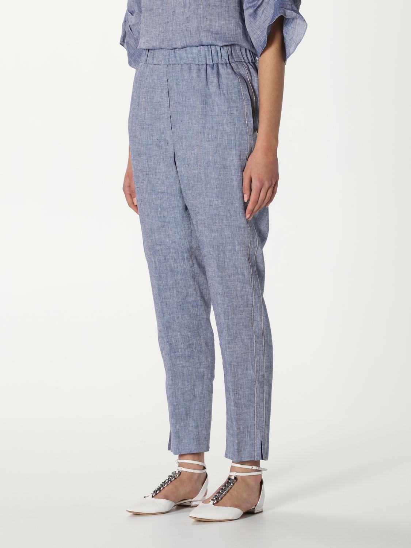 Pantalone Peserico: Pantalone Peserico in lino blue 4