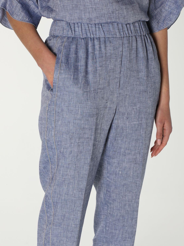 Pantalone Peserico: Pantalone Peserico in lino blue 5