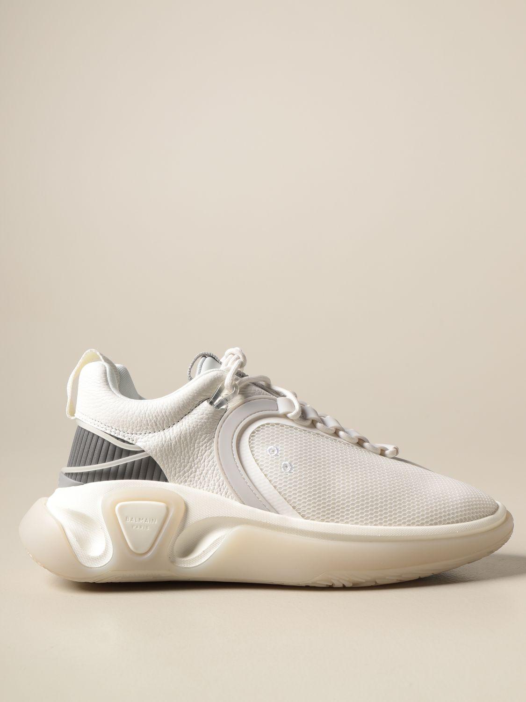 Sneakers Balmain: Sneakers stringata Balmain in pelle a grana rete e gomma bianco 1