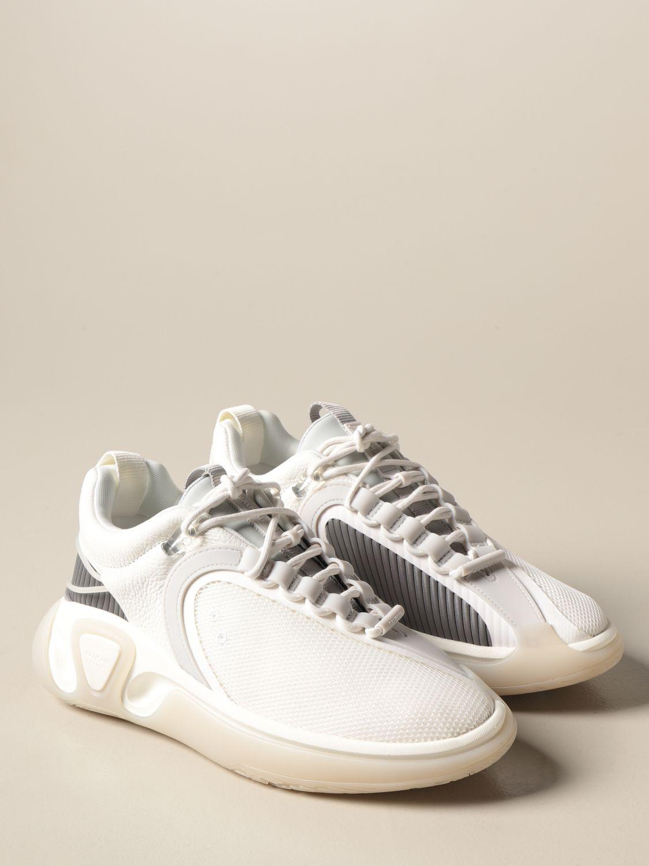 Sneakers Balmain: Sneakers stringata Balmain in pelle a grana rete e gomma bianco 2