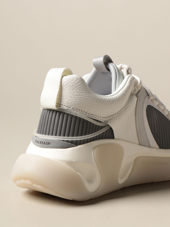 Sneakers Balmain: Sneakers stringata Balmain in pelle a grana rete e gomma bianco 3