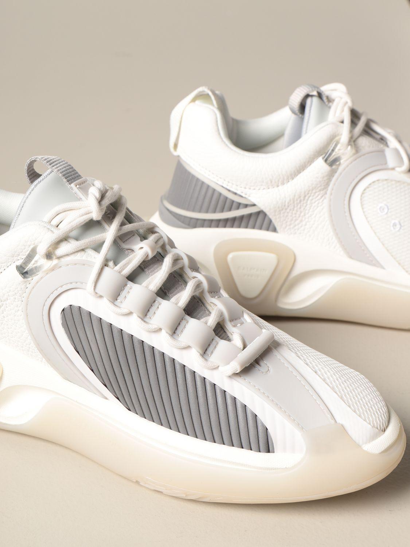 Sneakers Balmain: Sneakers stringata Balmain in pelle a grana rete e gomma bianco 4