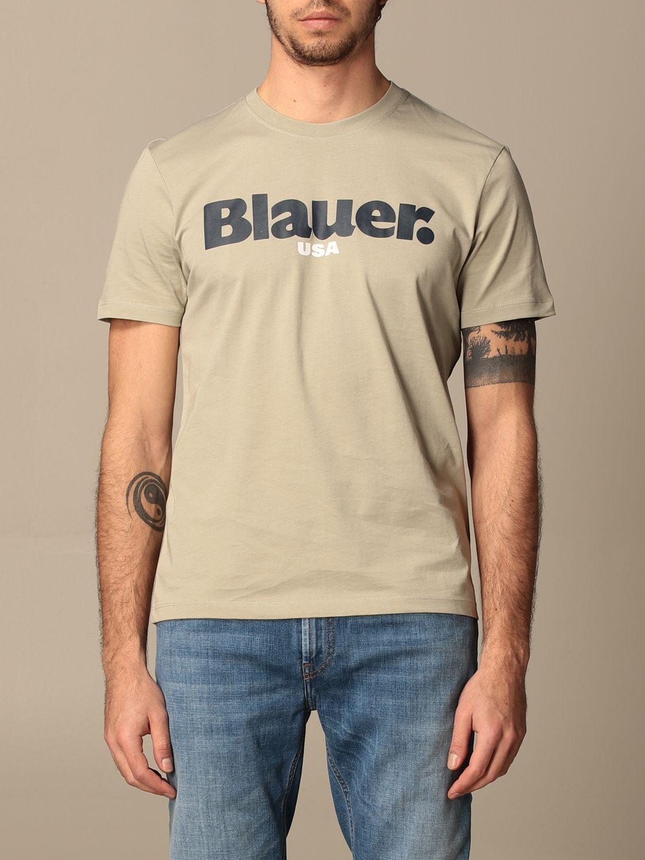 T-shirt Blauer: T-shirt Blauer in cotone con logo grigio 1
