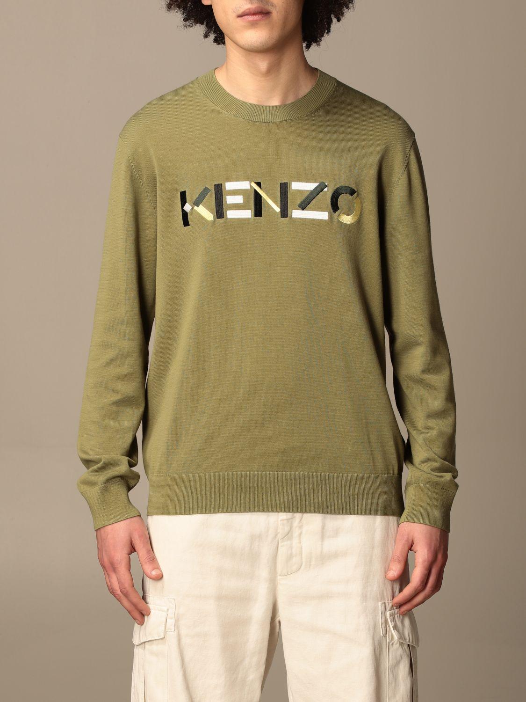Maglia Kenzo: Maglia a girocollo Kenzo con logo colorato kaki 1