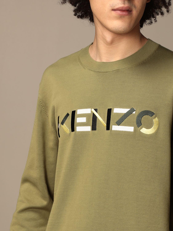 Maglia Kenzo: Maglia a girocollo Kenzo con logo colorato kaki 4