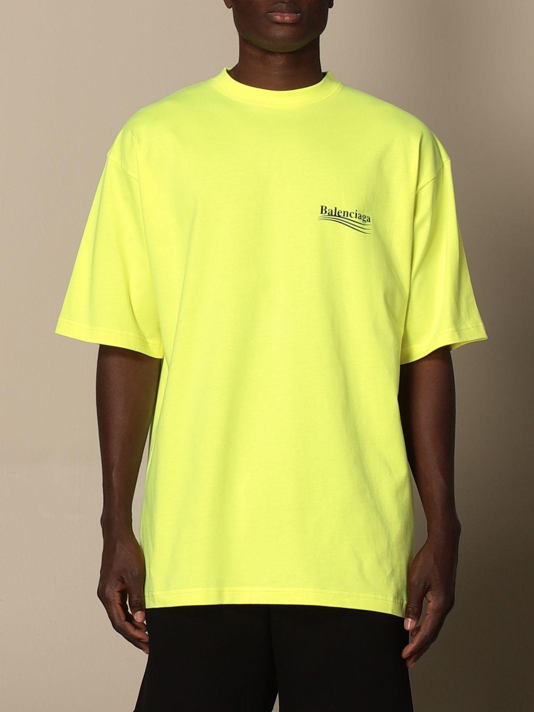 T-shirt Balenciaga: Balenciaga cotton t-shirt with logo yellow 1