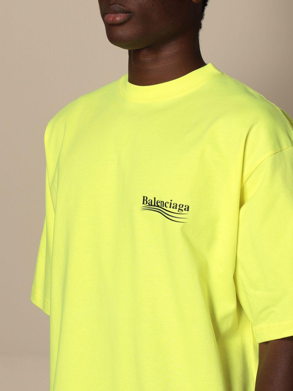 T-shirt Balenciaga: Balenciaga cotton t-shirt with logo yellow 4