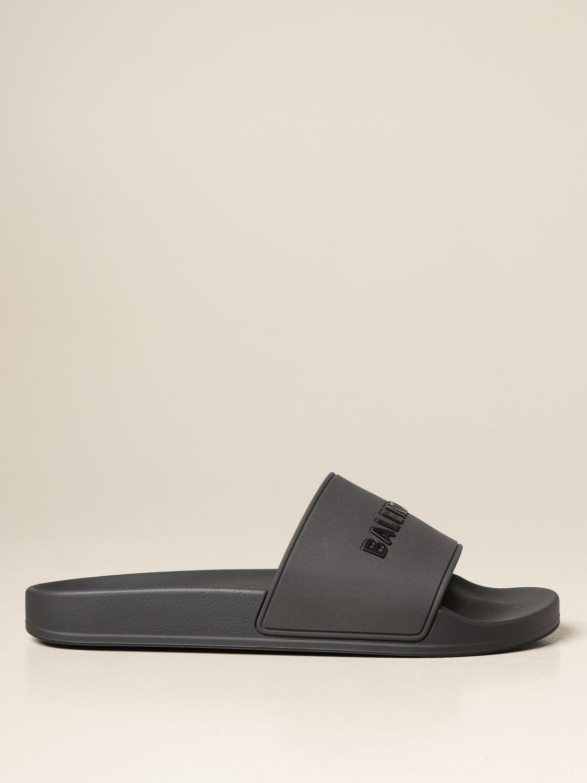 Sandals Balenciaga: Slide Balenciaga sandal in rubber with logo black 1