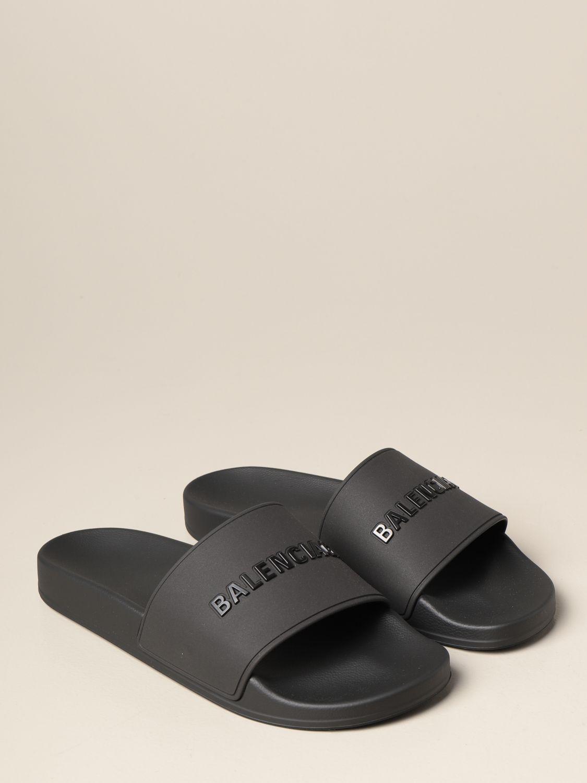 Sandals Balenciaga: Slide Balenciaga sandal in rubber with logo black 2