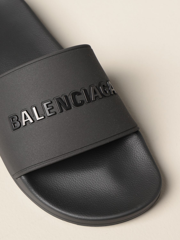 Sandals Balenciaga: Slide Balenciaga sandal in rubber with logo black 4