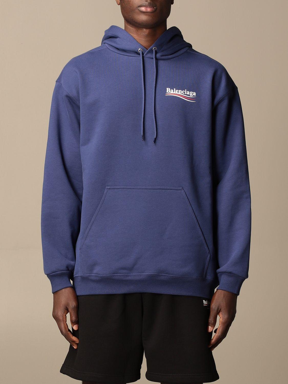 Sweatshirt Balenciaga: Balenciaga hooded sweatshirt in cotton with logo blue 1