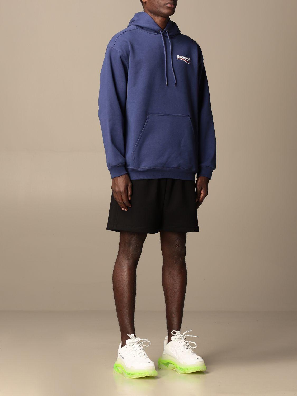 Sweatshirt Balenciaga: Balenciaga hooded sweatshirt in cotton with logo blue 2