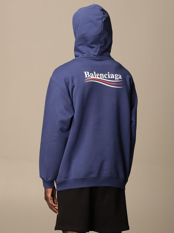 Sweatshirt Balenciaga: Balenciaga hooded sweatshirt in cotton with logo blue 3