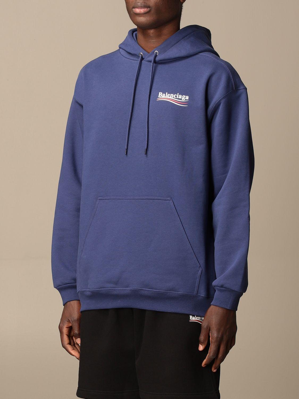 Sweatshirt Balenciaga: Balenciaga hooded sweatshirt in cotton with logo blue 4