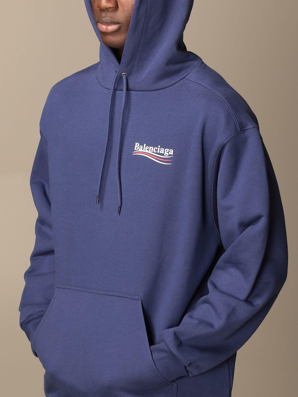 Sweatshirt Balenciaga: Balenciaga hooded sweatshirt in cotton with logo blue 5
