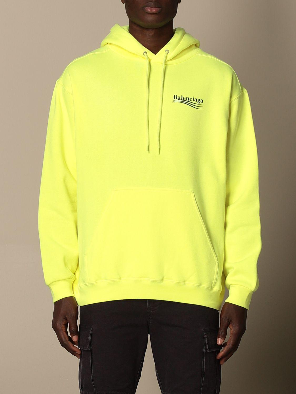 Sweatshirt Balenciaga: Balenciaga hooded sweatshirt in cotton with logo yellow 1