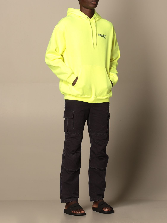Sweatshirt Balenciaga: Balenciaga hooded sweatshirt in cotton with logo yellow 2