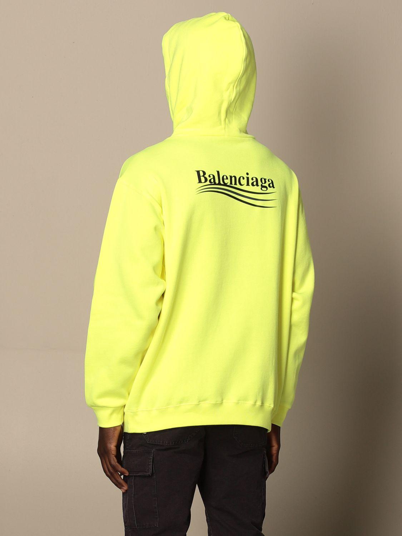 Sweatshirt Balenciaga: Balenciaga hooded sweatshirt in cotton with logo yellow 3