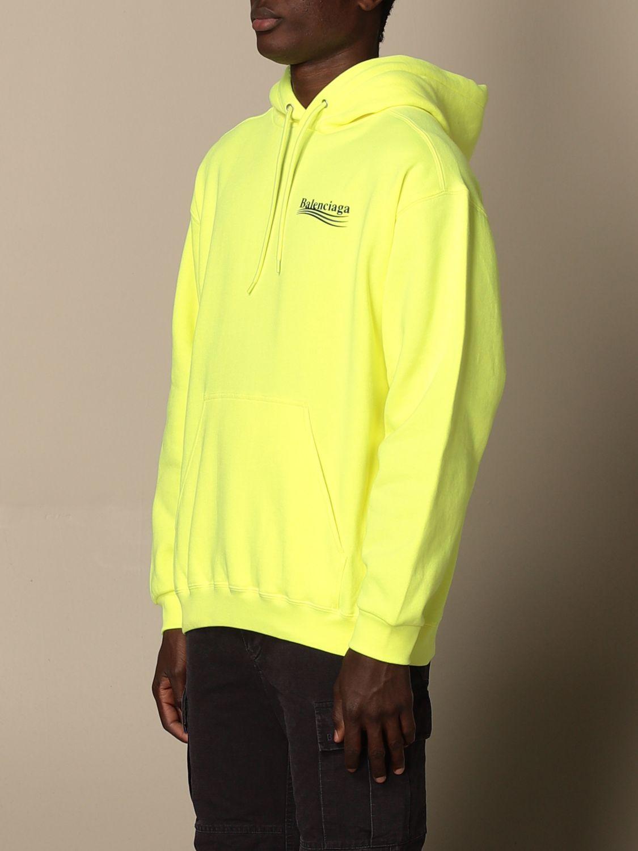 Sweatshirt Balenciaga: Balenciaga hooded sweatshirt in cotton with logo yellow 4