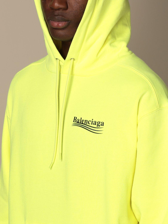 Sweatshirt Balenciaga: Balenciaga hooded sweatshirt in cotton with logo yellow 5
