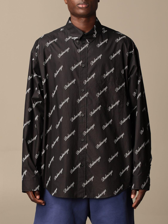 Shirt Balenciaga: Balenciaga shirt with all over logo black 1