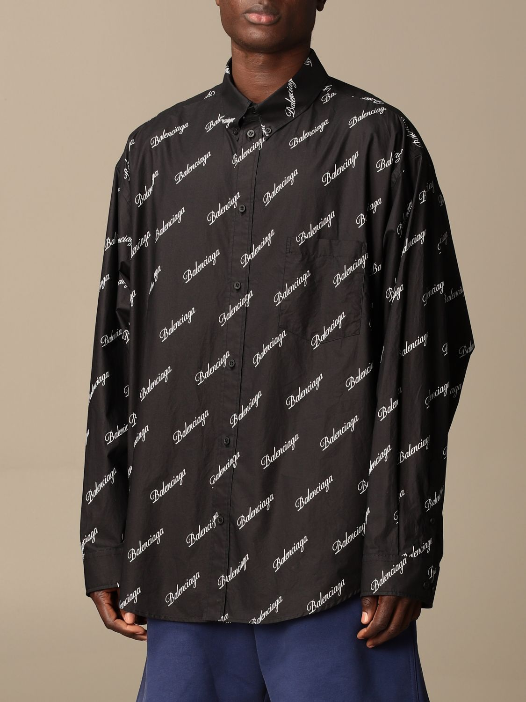 Shirt Balenciaga: Balenciaga shirt with all over logo black 4