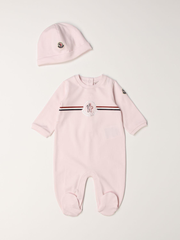 Combinato Moncler: Set tutina con piede + cappellino Moncler rosa 1