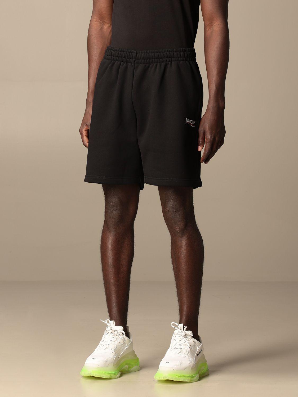 Short Balenciaga: Balenciaga cotton jogging shorts with logo black 4